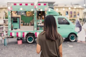 cute food truck with girl
